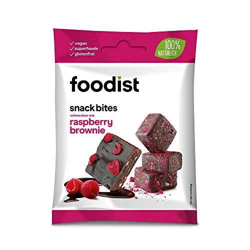Foodist Snack Raspberry Brownie mit Dattelbasis, Fruchtriegel ohne Zuckerzusatz, 100 % dunkle Schokolade im 10er Pack - Köstlich für Zwischendurch (10 x 55g)