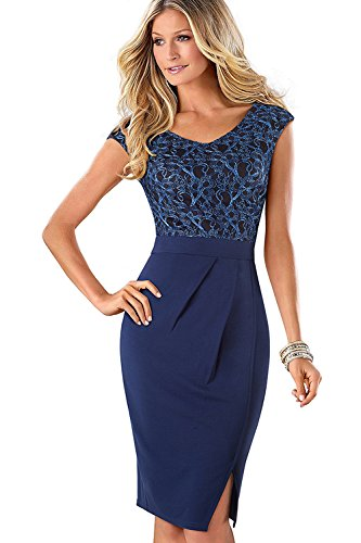 Misshow Damen Strickerei Split Hem Business Bleistiftkleid Kleider Für Hochzeit Bodycon- Gr. Small, Blau