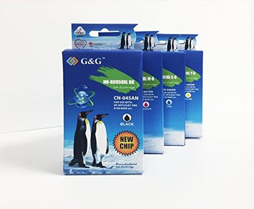 G&G Remanufactured Ink Cartridge High-Yield Replacement for HP 950XL/951XL (CN045AN, CN047AN, CN046AN, CN048AN) (Black, Cyan, Yellow, Magenta, 4/pack)