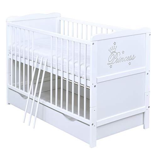 Baby Delux Babybett Gitterbett umbaubar Juniorbett Princess 120x60 Weiß mit Schublade und Matratze