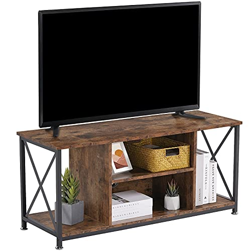 Snughome TV Stands for 50 Inch TV, Modern Wood TV Console Table with Storage Shelves, Mid Century Farmhouse Entertainment Center for Living Room Bedroom, Metal Frame (Rustic Brown)