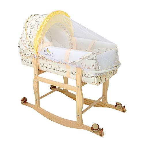 Draagbare verwijderbare babybedje, pasgeboren wieg babybedje, baby slaapmand bed met muggennet houten frame wiel, geschikt voor 0~2 jaar oude baby