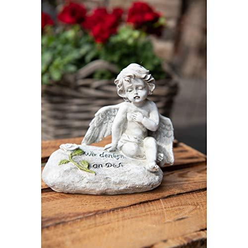 Kamelio Grabschmuck Engel Wir vermissen Dich Grabstein mit Gravur Gedenkstein für Grab Stein mit Spruch Trauerengel Grabdeko Engelfigur
