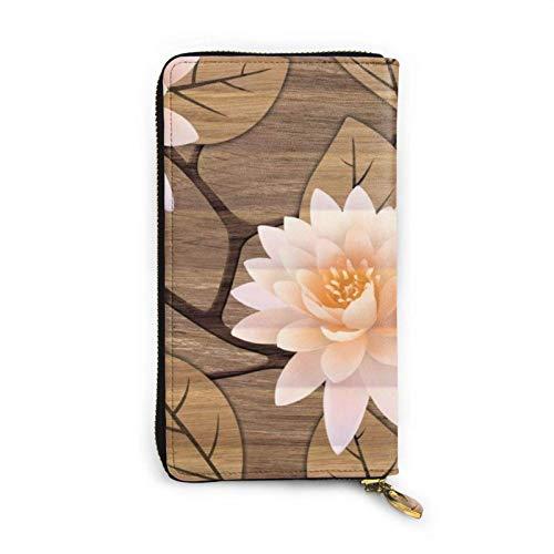 shenguang Fliesen Design auf Holz Frauen große Kapazität Luxus Wachs Echtes Leder tragbare Brieftasche Kupplung Organizer