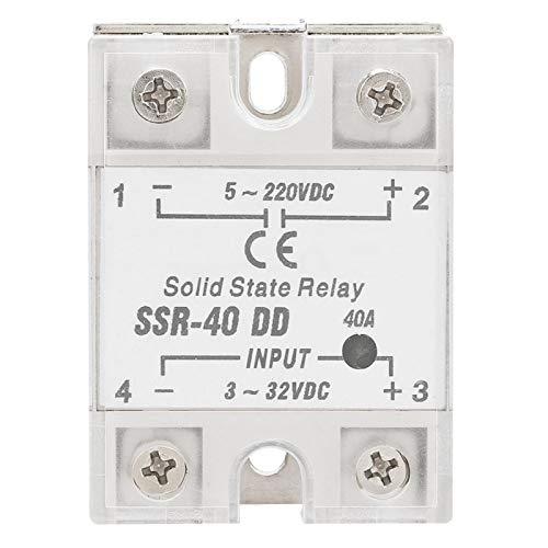 Akozon Relés de estado sólido Módulo de Relé de Estado Sólido SSR-40 DD 40A 5-220V DC para Procesos de Automatización Industrial