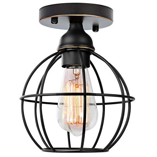 Vintage Käfig Deckenleuchte Schwarz Industrielle Kugel Deckenlampe Geometrische aus Metall E27 Fassung Retro Pendelleuchte für Flur Küche Kleine Räume