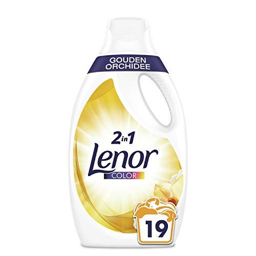 Lenor Waschmittel Flüssig, Flüssigwaschmittel, Color Waschmittel, Farbschutz, Goldene Orchidee, 19 Waschladungen (1.045 L)