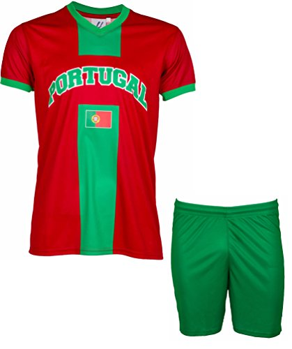 Trikot + Shorts Portugal, Fan-Kollektion, Kindergröße 8 Jahre rot