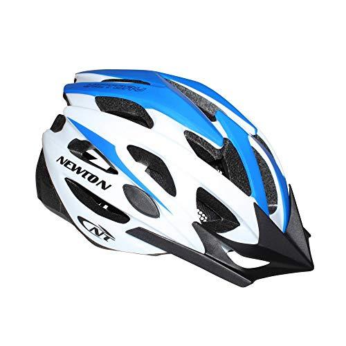 NEWTON Casque Velo Adulte Route-VTT Victory Bleu-Blanc Taille 55-58 avec Visiere et Lock (Vendu en Boite)