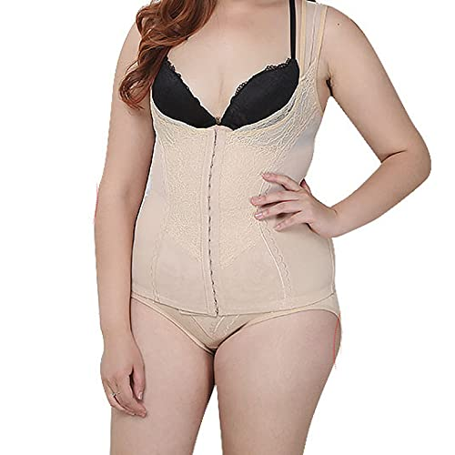 Underbust Cors Tops para mujer con ganchos ropa interior transpirable cintura Cincher Trimmer prdida de peso Shapewear, caqui, 4XL
