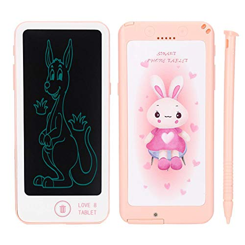 Tablero de Doodle LCD, Viene con bolígrafo, Tableta de Escritura LCD con Forma de teléfono, protección para los Ojos para niños Que escriben y estudian Dibujo(Pink)