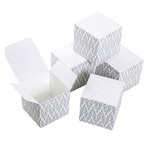 Logbuch-Verlag 25 kleine Geschenkboxen grau hellgrau weiß Gastgeschenk Hochzeit Verpackung Give-Away Mini Schachtel mit Deckel 7 x 7 cm quadratisch Geburtstag Taufe Kommunion