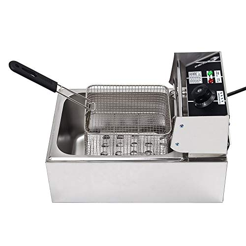 ZM Electric Deep Fryer,Countertop Kitchen Frying Machine,Stainless Steel,Easy to Clean Deep,for French Fries, Donuts and More.11.2x17.3x11.6in