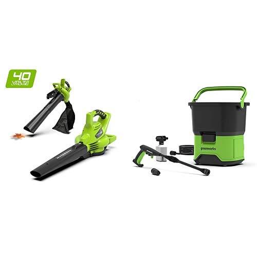 Greenworks Tools 24227 Greenworks 40V Akku-Laubbläser und Sauger, 40 V+ Akku-Hochdruckreiniger GDC40 (Tank 6 m Schlauch ohne Akku und Ladegerät)