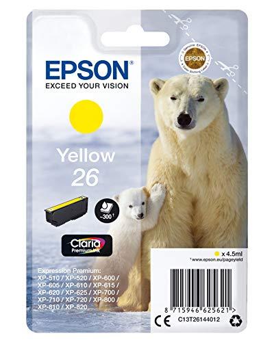 Epson C13T26144010 - Cartucho de tinta, amarillo válido para los modelos Expression Premium XP-510, XP-520, XP-600, XP-605, XP-720, XP-810, XP-820 y otros, Ya disponible en Amazon Dash Replenishment