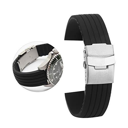 Nannday Pulseira de relógio de silicone, tamanho da tira universal de 18 mm/20 mm/22 mm/24 mm (18 mm)