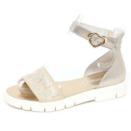 E8694 Sandalo Bimba Girl Twin-Set Scarpe Strass Beige/Silver Shoe Sandal [35]