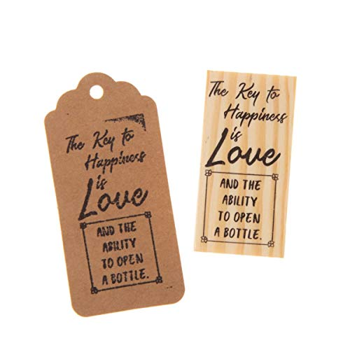 Ella Celebration Wooden Rubber Stamp for Tags, Key Bottle Openers (Key to Happiness)