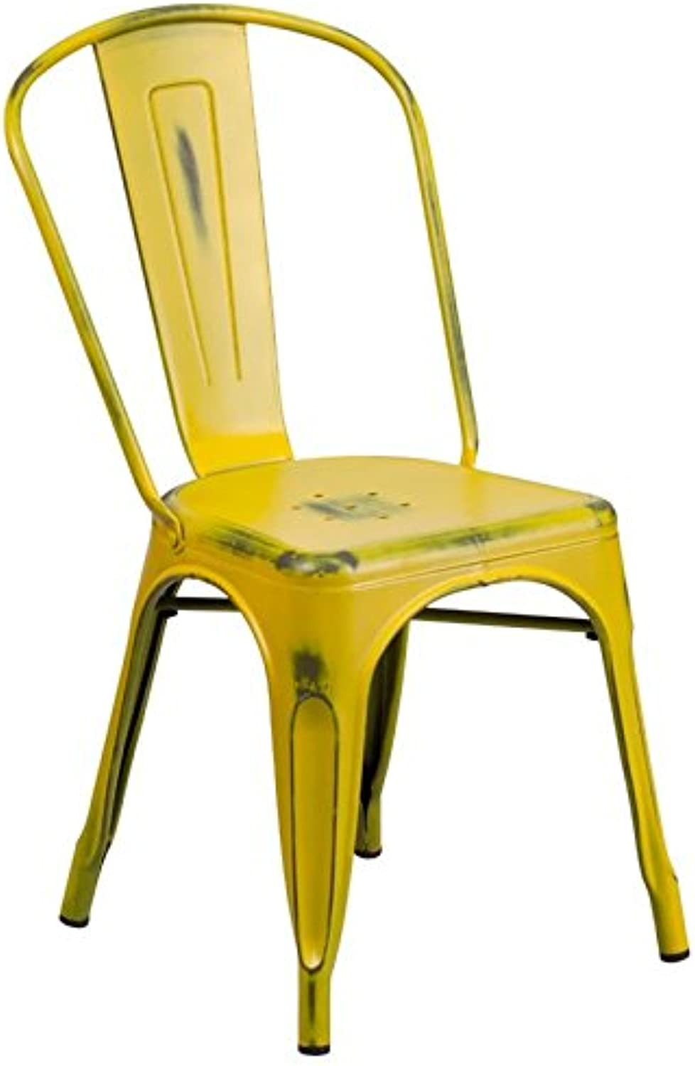 Bowery Hill Metal Dining Chair in Distressed Yellow