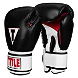 Title Boxing Classic Leather Super Bag Gloves 2.0, Black/White/Red, Medium