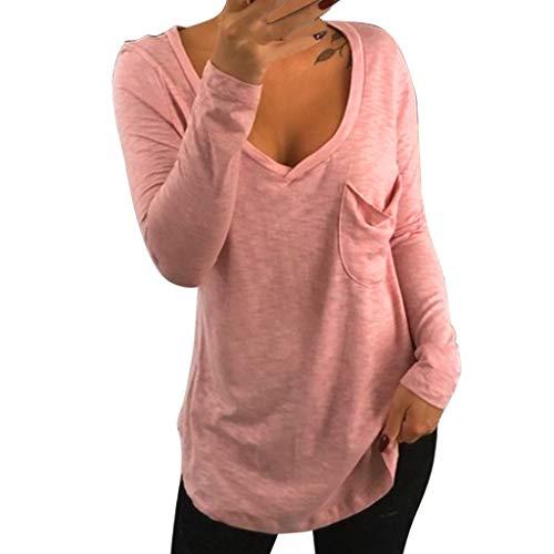 Ode_Joy Top Casual con Cuciture a t-Shirt Camicetta Felpa Manica Lunga Cravatta Maniche Lunghe Strisce Donna Cotone Casual Maglietta Primavera Autunno Camicia Maglia Maniche Lunghe