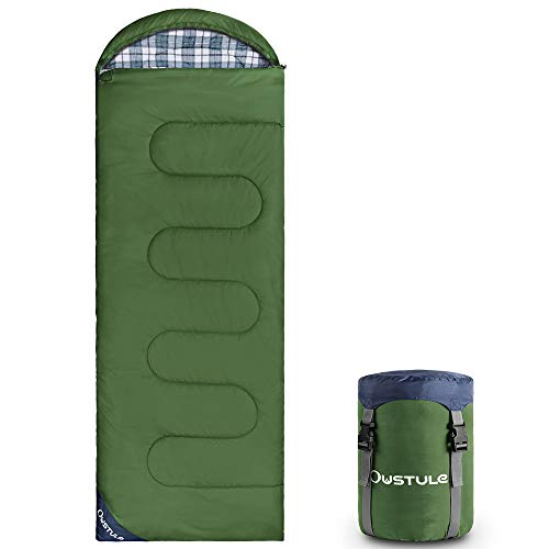 OUSTULE Camping Sleeping Bag -3 Season Warm & Cool Weather, Lightweight, Waterproof Use for Adults & Kids for Backpacking, Hiking, Traveling, Camping with Compression Sack, Army Green-Flannel, 41℉-50℉