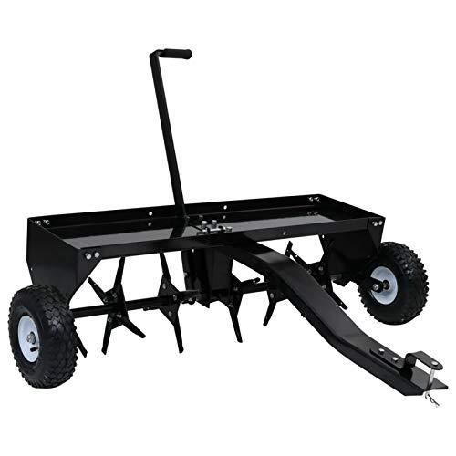 Tidyard Rasenlüfter für Aufsitzmäher Einhand-Hebel Vertikutierer Rasenbelüfter Aerifizierer Rasentraktor Traktor 2 Luftreifen 102cm