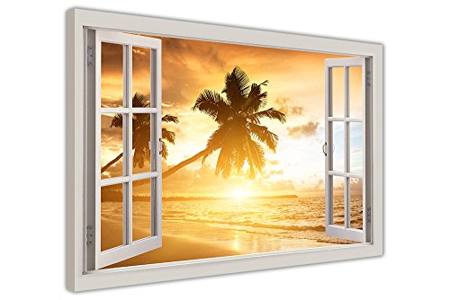 TROPICAL BEACH SUNSET 3D WINDOW BAY VIEW CANVAS PICTURES WALL ART FRAMED PRINTS SIZE: A2-24' X 16' (60CM X 40CM)