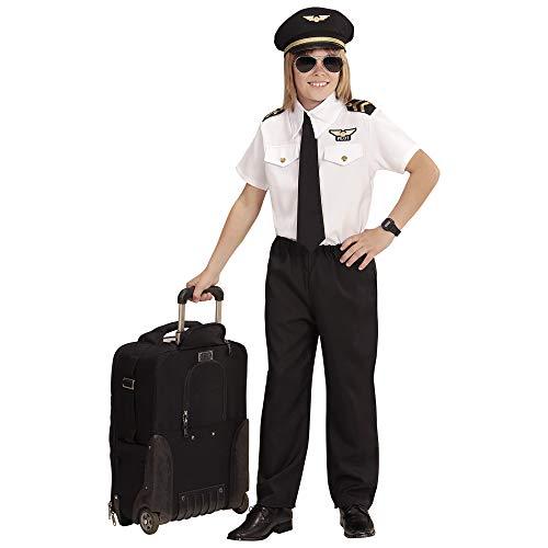 WIDMANN 96806 Kinderkostüm Pilot, Jungen, Schwarz/Weiß, 128