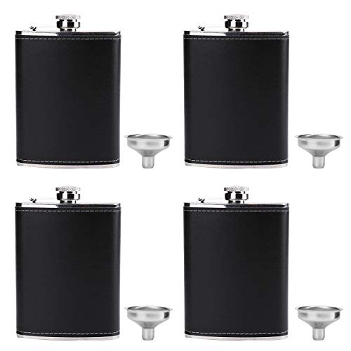 Suwimut 4 Pack Hip Flask for Liquor, 8 oz Stainless Steel Leakproof Leather Cover Pocket Flask with Funnels for Men Drinking Alcohol, Whiskey, Rum and Vodka