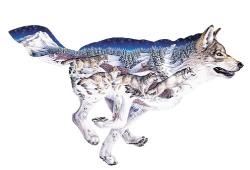 "FX Schmid ""Pack Leader"" by Sally J. Smith; 1000 Piece Wolf Shaped Puzzle"
