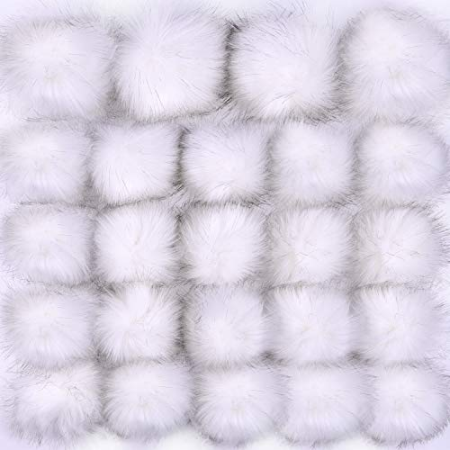 Coopay 24 Pieces Faux Fox Fur Pom Pom Balls DIY Fur Fluffy Pom Pom with Elastic Loop for Hats Keychains Scarves Gloves Bags Charms Knitting Accessories (White)
