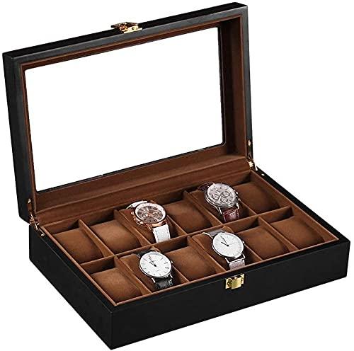 Caja de relojes Caja de almacenamiento de reloj Caja de reloj para hombres 12 ranuras Display Case titular grande hebilla de metal