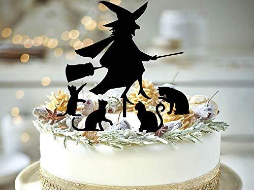 Halloween heks met katten taart topper heks halloween partij decor kat dame taart topper zwart kat cupcake toppers heks decoratie