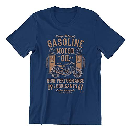 Jurcom Printing Ltd Gasoline Motor Oil Vintage - T-Shirt (Medium, Navy)