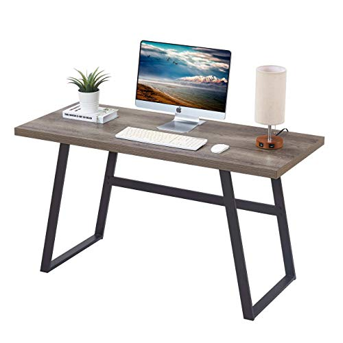 BON AUGURE Rustic Wood Computer Desk, Modern Home Office Desks, Wood and Metal Study Writing Desk...