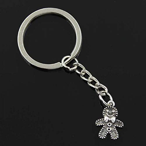 TAOZIAA Fashion Men 30mm Keychain DIY Metal Holder Chain Vintage Gingerbread Man Cookies Christmas 18x12mm Silver Pendant Gift