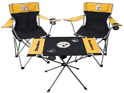 Rawlings NFL 3-Piece Tailgate Kit, 2 Gameday Elite Chairs and 1 Endzone Tailgate Table, Pittsburgh Steelers