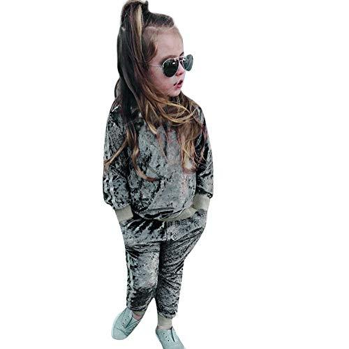 MRULIC MRULIC Mädchen Weihnachten Pyjamas Tägliche Babysuit Overall Winter Baby Strampler Zweiteiliger Schlafanzug mit Oberteil Anzug (Grau,75-80CM)