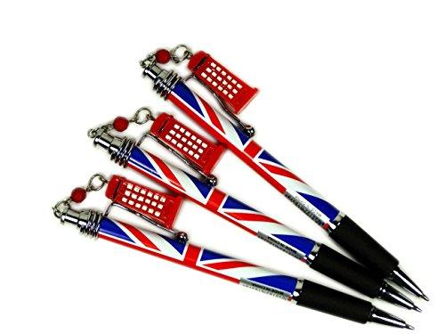 Stationeries 61055 Lot de 3 stylos /à bille avec clip Motif souvenir de Londres Union Jack