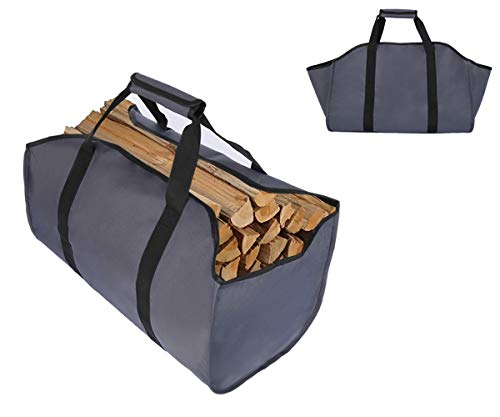 Tesslove Sac de transport en toile pour bûches de chauffage, extra large, durable, idéal pour cheminées, poêles à bois, bûches, camping, aménagement paysager (gris, L)