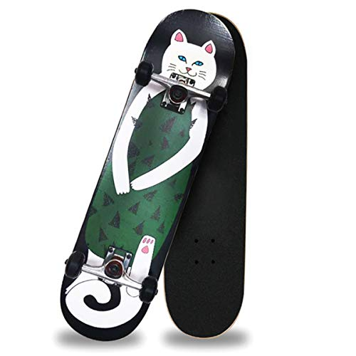 Standard Skateboard, Double Kick Deck Concave Cruiser, Suitable for Young Beginner Sports Enthusiasts, Longer Service Life (Color : White cat)