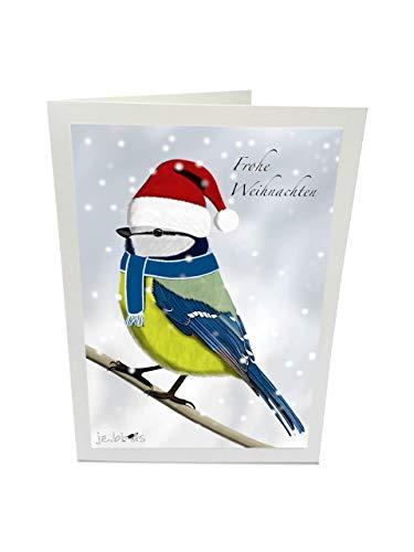 Weihnachtskarte mit Umschlag Blaumeise mit Weihnachtsmütze im Schnee Lustiges Vogelmotiv Grau Frohe Weihnachten