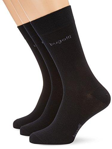 bugatti Herren Socke 3 er Pack 6703 smooth cotton, Gr. 43-46, Schwarz (610 - black)