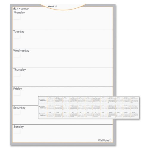 AT-A-GLANCE AW503028 WallMates Self-Adhesive Dry Erase Weekly Planning Surface, 18 x 24