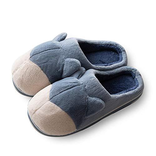 B/H Zapatillas Andar por casa Hombre,Zapatillas de algodón para el hogar de Felpa cálidas de otoño e Invierno, Zapatos cómodos Antideslizantes de Interior para Hombres y Mujeres.-Azul_44/45