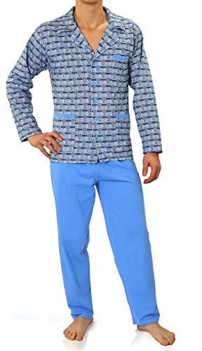 Sesto Senso® Herren Schlafanzug Lang Pyjama mit Knopfleiste 100{1cf47b3ff1cedce6a9f5ae07fa0f059f7860c0b3852825fd52424185afaa6860} Baumwolle Knöpfe Langarm Shirt mit Taschen Pyjamahose Zweiteilig Set Nachtwäsche (XXL, 03 blekit)