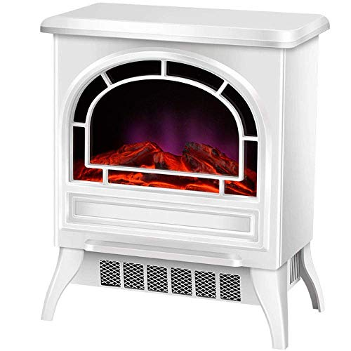 DOUP Portable Electric Fireplace Heater Free-Standing Fireplace Heater 900W 1800W Free-Standing Electric Vintage Fireplace with Opening Door Room Heating with 3D Realistic-Mechanical