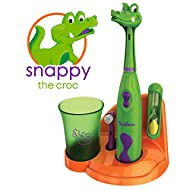 Brusheez Kid's Electric Toothbrush (Safari Edition) Set - Soft Bristles, Easy-Press Power Button, 2 Brush Heads, Cute Animal Cover, Sand Timer, Rinse Cup & Storage Base - Snappy The Croc