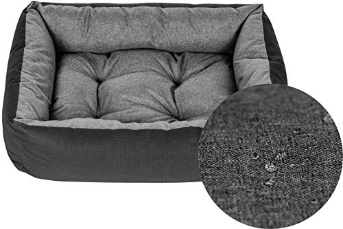 Superkissen24. Hundebett Hundekorb Hundesofa Tierbett für Kleine, Mittlere und Grosse Hunde - Waschbar - Größe XL - Schwarz und Grau - Flachs